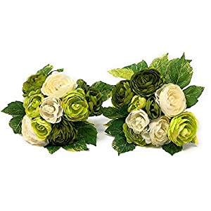 "RAZ Imports Set of 2 Artificial Flowers Bouquet Ranunculus Bundle Ornamental Wall Table Wedding Party Decoration Arrangements 8.5"" H (18 Stems) 44"