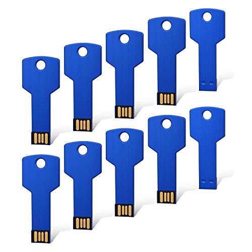 RAOYI 10PCS 8GB 8G USB Flash Drive Metal Key Design USB Flash Drive Metal Key Shaped Memory Stick USB 2.0 Blue 8G