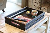 BLACK RUSTIC SLATTED TRAY