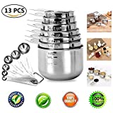 Measuring Spoons and Measuring Cups Set-13Piece, Stainless Steel Measuring Spoons and Cups Set, Including 6-Piece Measuring Spoons and 7-Piece Cups Set, Liquid/Dry Measuring Spoon/Cup Set
