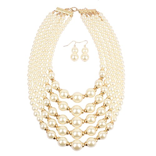 KOSMOS-LI Women Elegant Jewelry Set Ivory Simulated Pearl Bead Cluster Statement Collar Bib Necklace and Earrings (Necklace Womens Ivory)