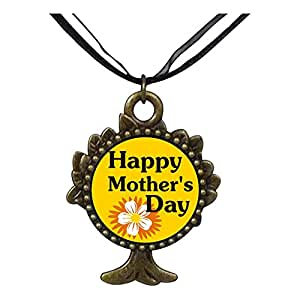 Chicforest Bronze Retro Style Happy Mother's Day The Tree Of Life And Wishing Pendant