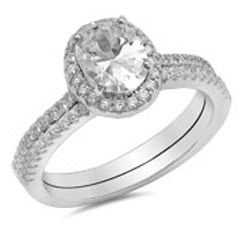 Oval White CZ Unique Halo Wedding Ring Set .925 Sterling Silver Band Size 8