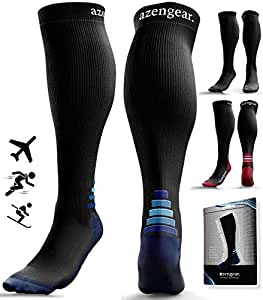 Compression Socks for Women & Men (20-30 mmHg) Best for Flight Travel, Running, Skiing, Athletics, Nurses, Shin Splints, Pregnancy & Improved Blood Circulation - Blue L/XL