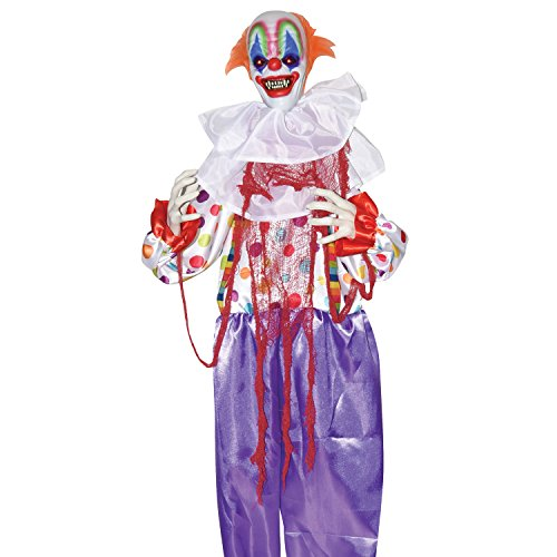 One Holiday Way Life-Size Standing Animated Clown Halloween Decoration Party Prop with Lights and Sounds]()