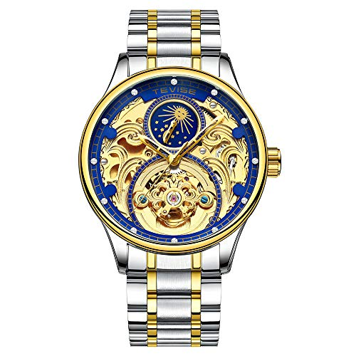 Zwbfu TEVISE T820A Business Men Automatic Mechanical Watch Moon Phase Time Display Fashion Casual Stainless Steel Strap 3ATM Waterproof Male Wristwatch