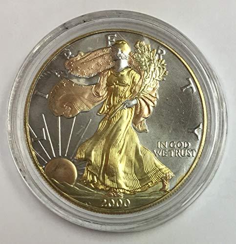 2000 P American Colorized 1 oz Fine Silver Eagle $1 Burnished