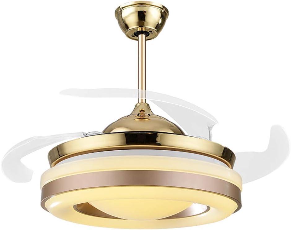 Vinteen LED Ventilador de techo invisible Ventilador de luz Luz Sala de estar Restaurante Dormitorio Hogar Sencillo moderno moderno Silencio eléctrico Lámpara de ventilador 42 pulgadas Lámpara de tech