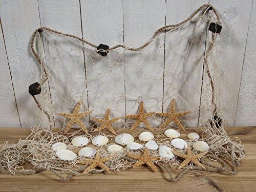 Fischernetz 1,5x1m beige mit 7 Seesternen und 15 Muscheln für die maritime Deko
