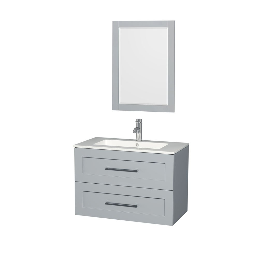 Wyndham Collection Olivia 36 Single Bathroom Vanity in Dove Gray - Acrylic Resin Countertop - Integrated Sink & 24 Mirror