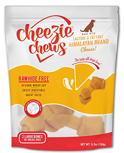 Cheezie Chews - Rawhide-Free Knot with Himalayan Brand Cheese - Large Sized Bones (5-6 Inches) - 2 Count (Large 2 Knot)