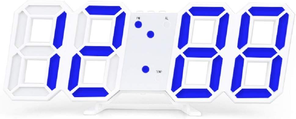 LUOLENG Despertador de Escritorio con Reloj de Pared Digital LED 3D con función de Despertador de Voz, Temporizador electrónico Grande con Brillo Ajustable para Office Home Hotel