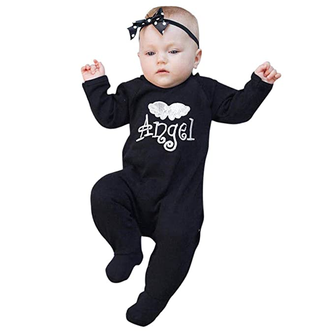 25d649a04 Infant Baby Boy Girl Letter Embroidery Angel Wing Long Sleeve Romper ...