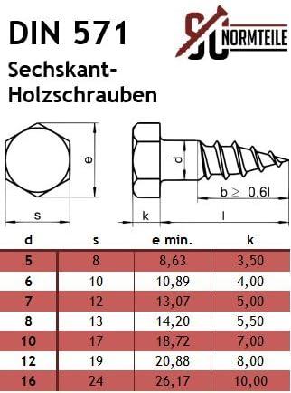 beige Six pans Vis /à bois 6/mm DIN 571/A2/en acier inoxydable V2/A