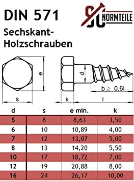 Schl/üsselschrauben SC571 Edelstahl A2 V2A 6x50 mm - 50 St/ück Holzbauschrauben Sechskant Holzschrauben - DIN 571
