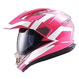 Dual Sport Motorcycle Motocross Off Road Full Face Helmet Racing Pink White