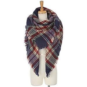 Womens Plaid Blanket Scarf Winter Soft Tassel Scarfs Gorgeous Wrap Shawl By Chuanqi