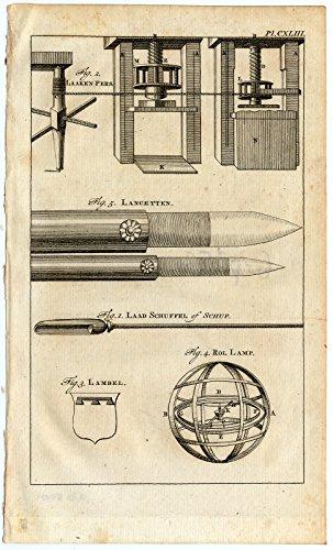 (Antique Print-LANCET-HERALDRY-DOVETAIL-LINEN PRESS-SCOOP-ROLLING LAMP-Buys-1770)