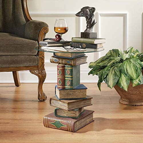 Round Bonded Glass Top Table - Design Toscano Stacked Book Volumes Vintage Decor End Table with Glass Top, 20 Inch, Polyresin, Full Color