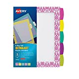 Avery Ultralast Big Tab Plastic Dividers, 5 Tabs, 1 Set, Assorted Designs (24902)
