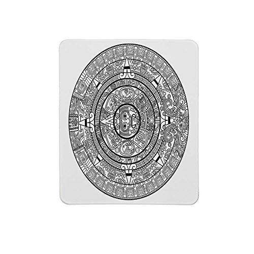 Mesoamerican Decor Non Slip Mouse Pad,Maya Calendar Illustration Accurate Antiquities Astrological Aztec Geometric Indigenous for Home & Office,11