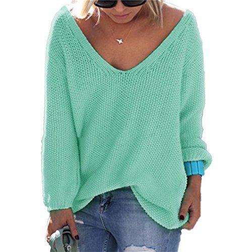 Sweater Manches Casual Honghu Pull Collier Longues Pullover Garder Femme Loose V Vert Chaud au 6wwA5q7r
