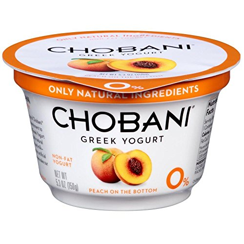 - Chobani Peach on the Bottom Non Fat Greek Yogurt, 5.3 Ounce - 12 per case