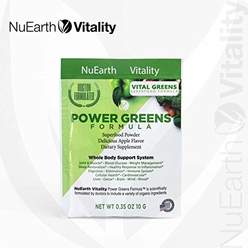 VITAL GREENS | Organic Superfood Powder Formula | Healthy Blend of Fruits, Veggies & Plants | Natural Supplement with Probiotics & Enzymes | Anti-inflammatory and Antioxidant | 10 Grams