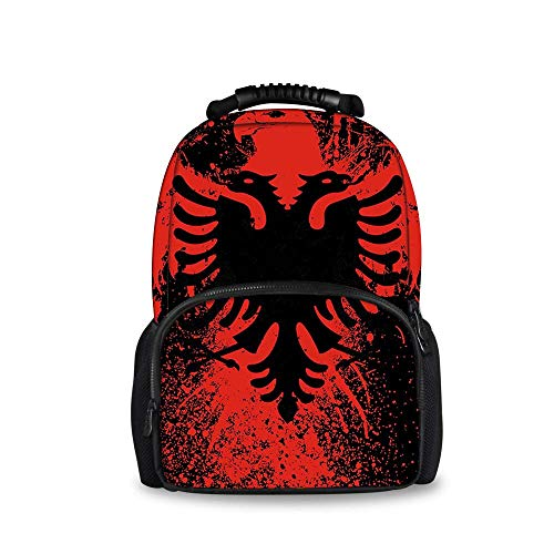 JACINTAN Albanian Flag Eagle Bird School Backpack Book Bags Boys Girls