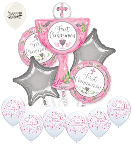 Girl First Holy Communion Balloons Bouquet Bundle]()