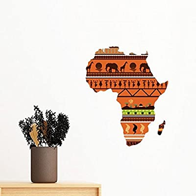 African Continent Name Landscape Map Removable Wall Sticker Mural DIY Wallpaper Vinyl Room Home Decal Decor