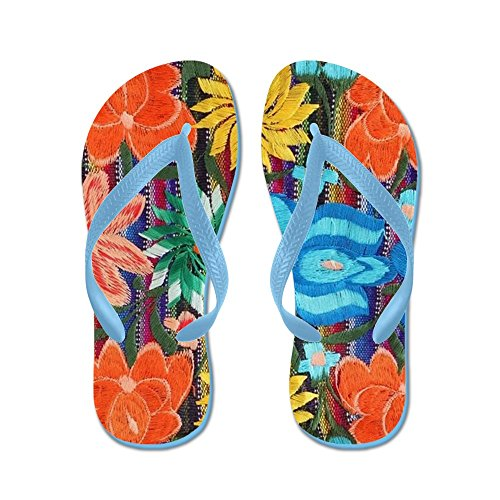 Cafepress Mexicaans Bloemborduurwerk - Flip Flops, Grappige Leren Sandalen, Strand Sandalen Caribbean Blue