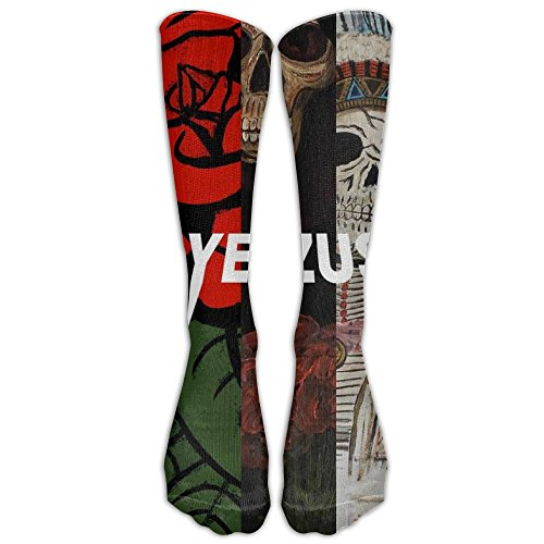 Pojuu Kanye West Skull Athletic Socks Knee High Socks For Men&Women Sport Long Sock Tube Long Stockings One Size ()