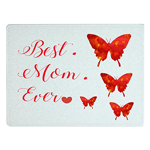 Best. Mom. Ever. Glass Cutting Board with Beautiful Butterflies, Vibrant Colors, Mothers Day Gift Idea, Kitchen Tools, Mom Gift, Birthday Present, Cheese Board