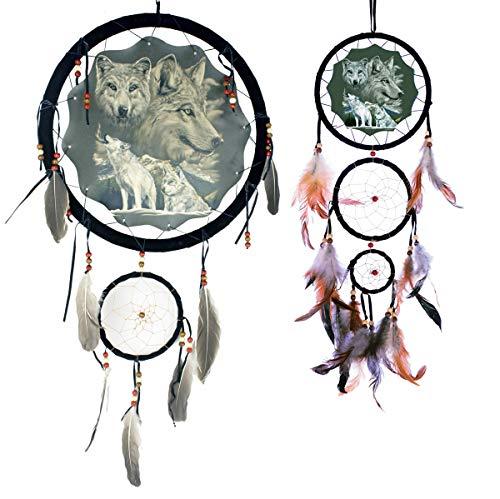 OBI Wolf Decorative Dream Catchers 2pc Gift Set - Wildlife Wolves Mandella - Wall Hanging Ornament Decor - Reproduction