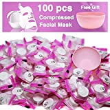100 pcs Compressed Facial Mask Sheet Beauty DIY Disposable Mask Paper Natural Cotton Skin Care Wrapped Masks Normal Thick,Get a Small Mask Bowl Free