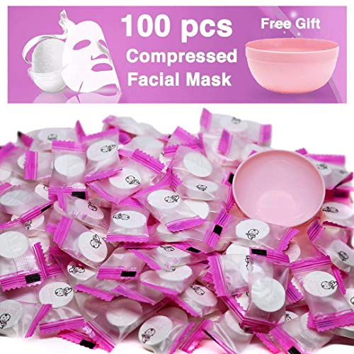 100 pcs Compressed Facial Mask Sheet Beauty DIY Disposable Mask Paper Natural Cotton Skin Care Wrapped Masks Normal Thick,Get a Small Mask Bowl -