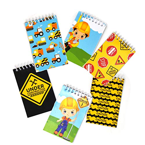 48 Count Construction Mini Notepads Birthday Party Construction Theme Supplies Truck Decorations for Kids Party Favors Toys Tractors, Dump Zone, Bulldozer Vehicles for Toddlers, Boys - Gift Boutique (Tractor Theme Party Supplies)