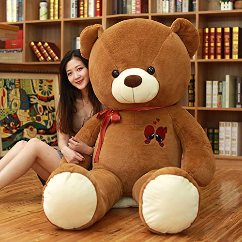 MIIA Teddy Bear - Large Teddy Bear Plush Toy Lovely Giant Bear Huge Stuffed Soft Dolls Kids Toy Birthday Gift for Girl - 32 Inch Dark Brown - A Day Bears Tatty Life Ft Fat Army Feet Red Size from MIIA
