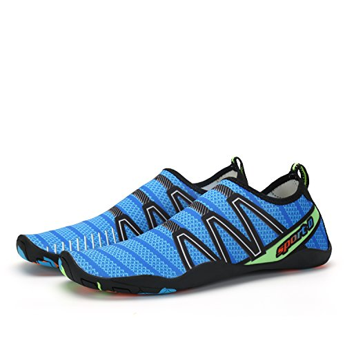 ANLUKE Water Sports Shoes Wading Aqua Slip on For Men Women Kids Blue/Cableway 4UPipVQHzw
