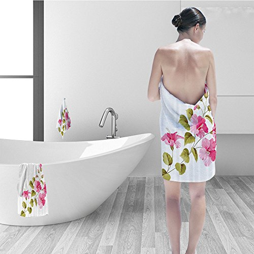 Nalahomeqq Hand towel set Flower House Decor Tropic Wild Hibiscus Flower Branch Fresh Leaves Exotic Flora Concept Bathroom Accessories Pink Green White ()