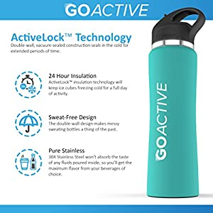GO Active Insulated Water Bottle with Straw. Stainless Steel Double Wall Sport bottle keeps ice cubes over 24 hours! (Aqua, 32 oz)