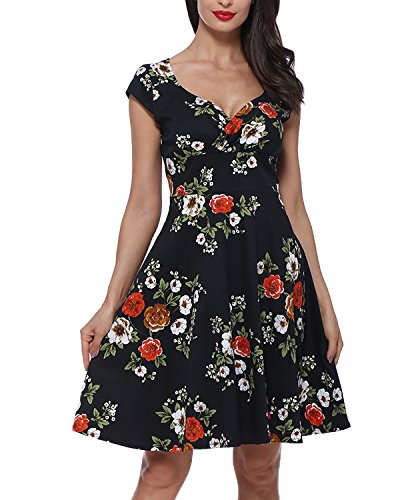 GAMISS Women's 1950s Vintage Dresses Floral V N...