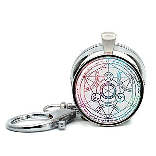 Keychain Round Pendant Fullmetal Alchemist Glass Cabochon Key Rings Stainless Steel Metal Handmade Charm - Metal Full Alchemist Keychain