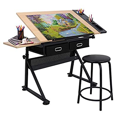 Adjustable Height Drafting Desk Drawing Table Tiltable Tabletop for for Reading, Writing Art Craft w/Stool and Drawers