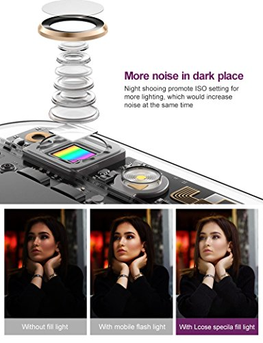 Selfie Light with iPhone Camera Lens,Yomiro 360° LED Flsh Light + 4K HD Wide Angle Lens + 185° Fisheye Lens + 50X Macro Lens, Rechargeable Clip On Selfie Light For Phone, iPhone, iPad, Samsung Gal by Yomiro (Image #5)