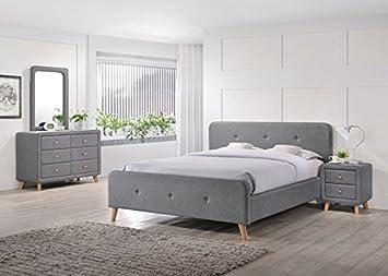 Schlafzimmer Set Joelle Komplett 4 Teilig Stoff Grau Bett Kommode