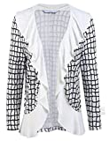 ELESOL Womens Plaid Print Knit Cardigan Tops 3/4 Sleeve Sweater Coat Outfits White/XXL