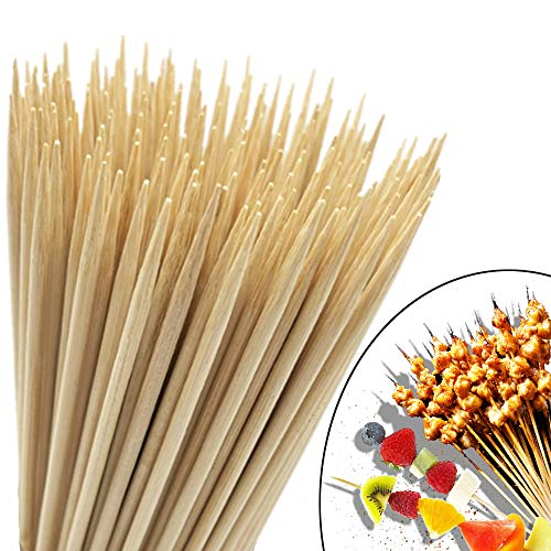 "HOPELF 6"" Natural Bamboo Skewers (0.16Inch/4mm Diameter) for Barbecue, Grill, Shish Kabob, Appetiser, Fruit, Corn, Chocolate Fountain, Cocktail, BBQ, Party"