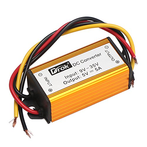 24V 12V to 5V 5A Converter, DROK Waterproof Voltage Regulator Module 9-35V to 5 V DC to DC Buck Converter Step Down Volt Transformer Car Power Supply for Motorcycle Auto LED